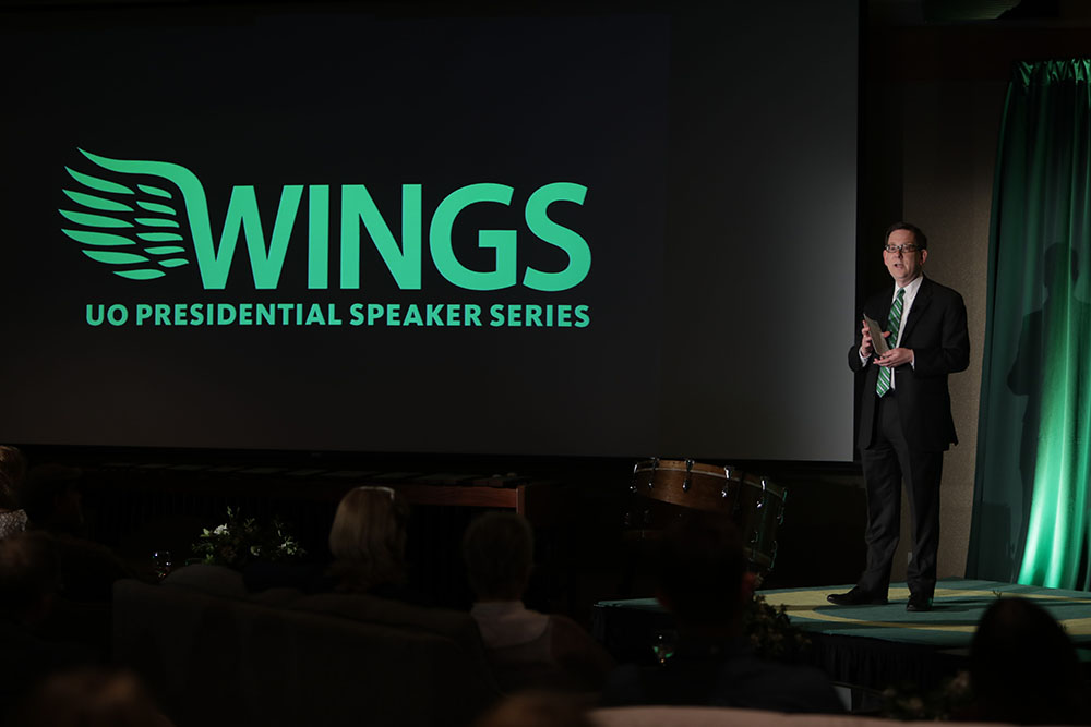 President Michael Schill presented Wings on June 1, with a reception and presentations by Tasia Smith, Nico Larco, Pius Cheung and Marcus Harvey.